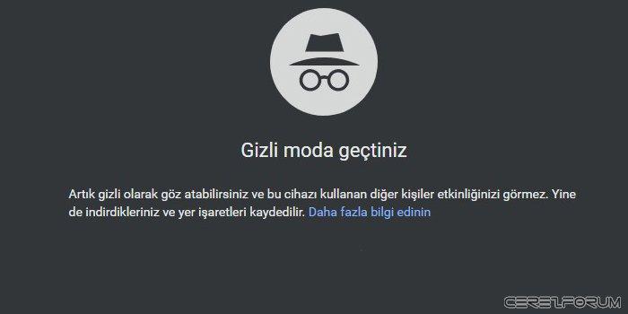 Chrome gizli mod