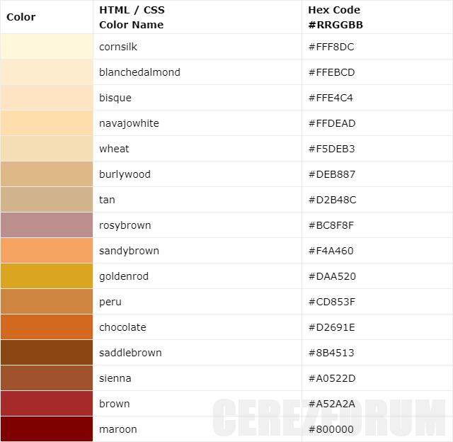 Kahverengi renk tonları