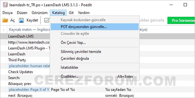 Poedit ile dil dosyası güncelleme