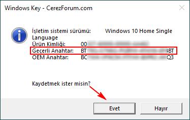 Windows ürün nahtarı bulma