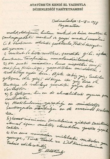 Atatürkün vasiyeti